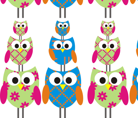 Owls on top fabric by cynwilkinson on Spoonflower - custom fabric