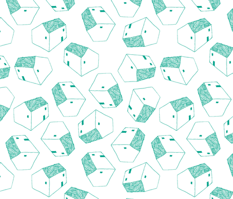 houses  green fabric by brokkoletti on Spoonflower - custom fabric