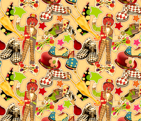VintageCircusClown_byTeresaMilburnKelly21x_18F fabric by doodledoer-teresakelly on Spoonflower - custom fabric