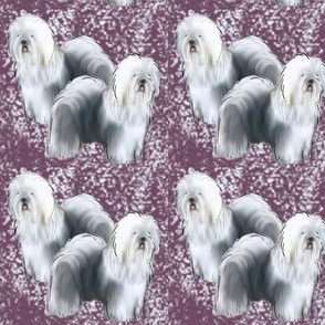 Old English Sheepdog Fabric Purple background