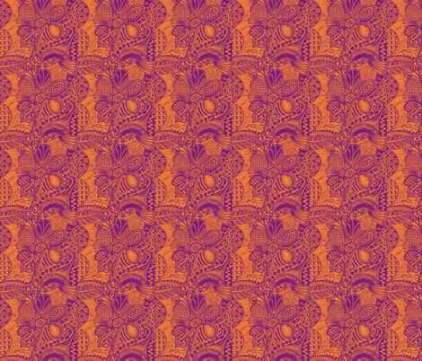 Zentangle_tree_purple_orange_mirror_repeat fabric by oodleardle on Spoonflower - custom fabric