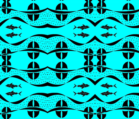 layer of shark fins  fabric by raasma on Spoonflower - custom fabric