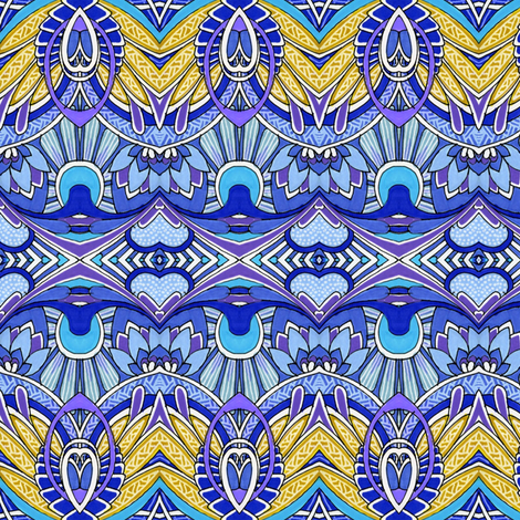 Doin' Deco (blue/gold) fabric by edsel2084 on Spoonflower - custom fabric