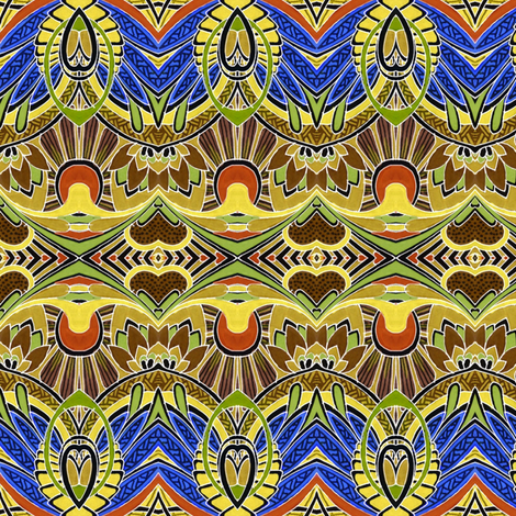 Doin' Deco (brown/blue) fabric by edsel2084 on Spoonflower - custom fabric