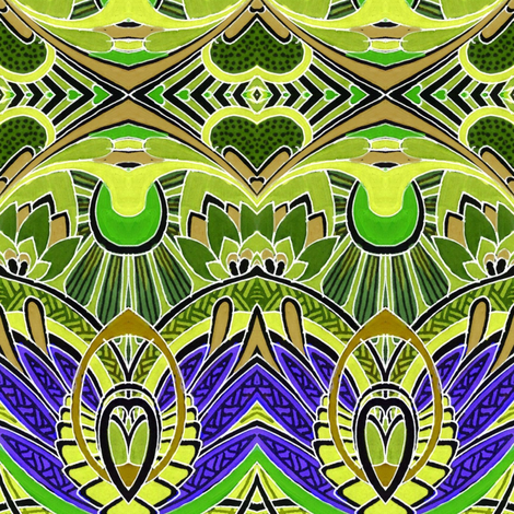 Doin' Deco (purple/lime) fabric by edsel2084 on Spoonflower - custom fabric