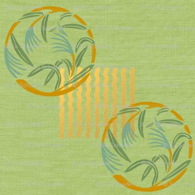 Bamboo grass on green linen weave