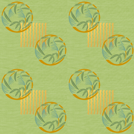 Bamboo grass on green linen weave fabric by su_g on Spoonflower - custom fabric