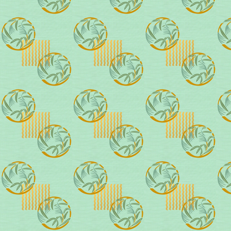 Bamboo grass on blue-green linen weave fabric by su_g on Spoonflower - custom fabric