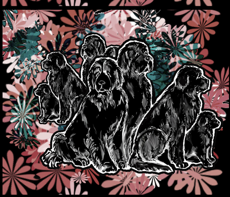 Newf Garden In Black fabric by dogdaze_ on Spoonflower - custom fabric
