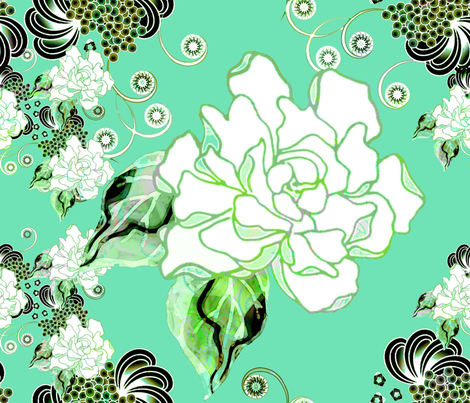 Gardenias in seafoam fabric by joanmclemore on Spoonflower - custom fabric