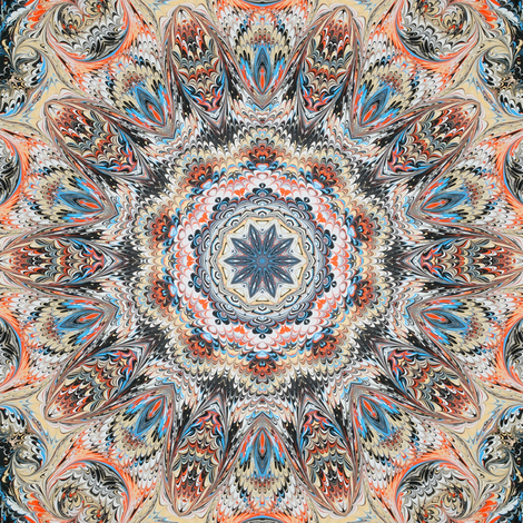 Sedona Feathers Marbled Kaleidoscope fabric by beesocks on Spoonflower - custom fabric