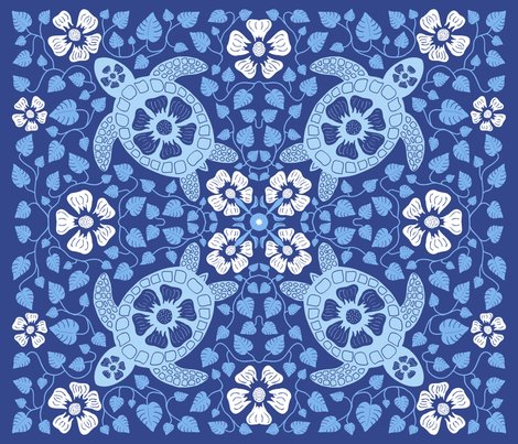 Rrhawaiian_quilt_v10a_white_flowers_on_turtle_rectangle_blues_on_dk_blue_v2