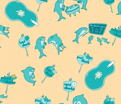 my illustrated guide to sharks fabric by bubbledog on Spoonflower - custom fabric