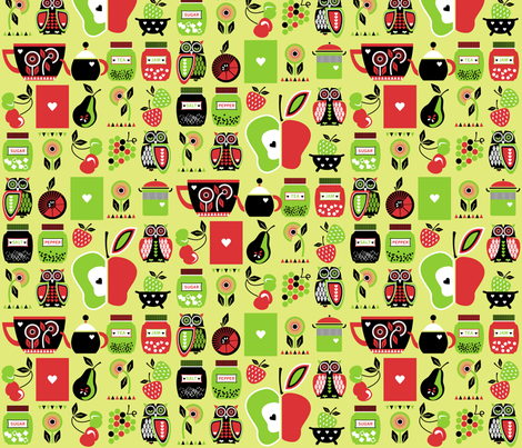 Owls_in_the_kitchen_green fabric by niceandfancy on Spoonflower - custom fabric