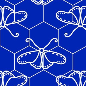 Butterfly Blueprint - 08 - Blue and White Negative