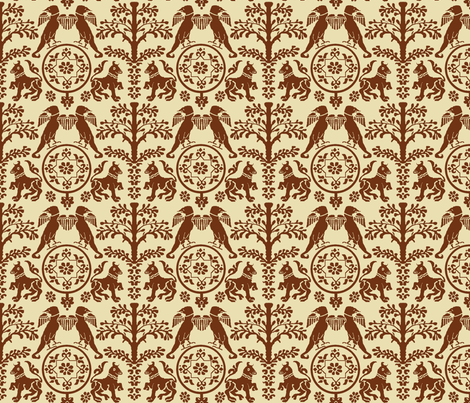 Wyverns and Bulls-Brown fabric by blakelock on Spoonflower - custom fabric