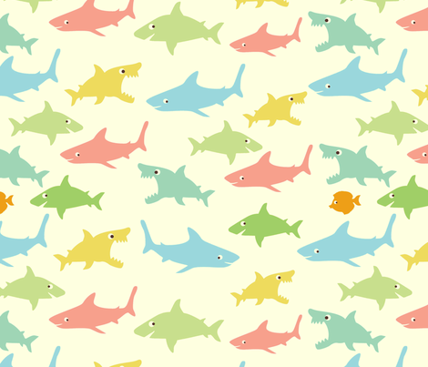 shark's friends fabric by blingmoon on Spoonflower - custom fabric