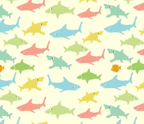shark's friends fabric by blingmoon on Spoonflower - custom fabric