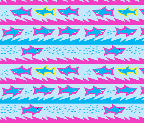 Attack of the 80s Sharks fabric by acbeilke on Spoonflower - custom fabric