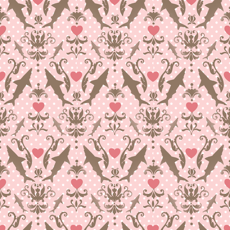 damask haifische fabric by eoskoch on Spoonflower - custom fabric