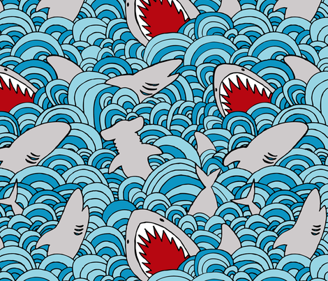 shark attack fabric by momshoo on Spoonflower - custom fabric