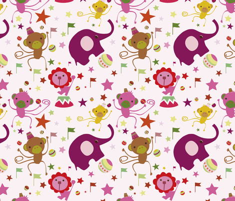 Juggling Monkeys Azalea fabric by sol on Spoonflower - custom fabric