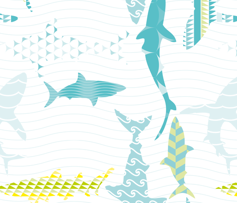 Sharks fabric by loki_and_lamb on Spoonflower - custom fabric