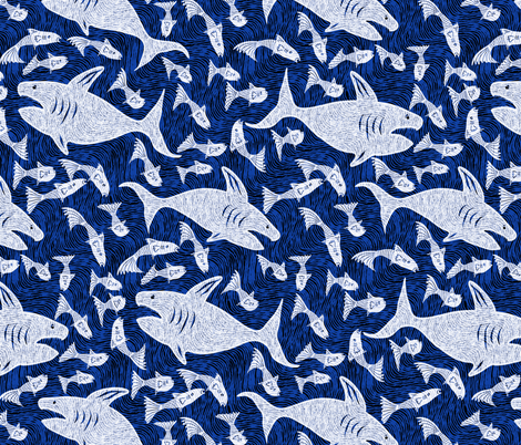 Shark Attack! fabric by kezia on Spoonflower - custom fabric