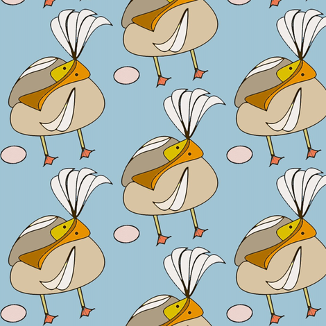 Pelican with Child  fabric by david_kent_collections on Spoonflower - custom fabric