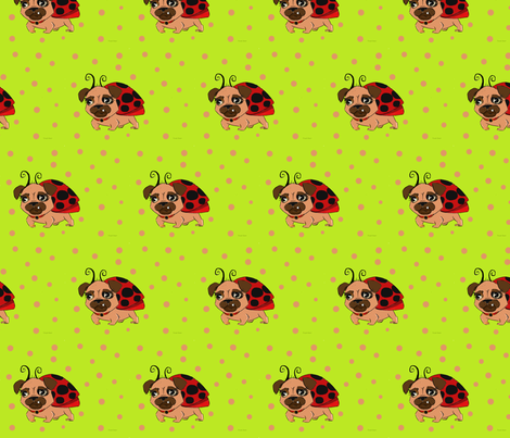 Lady Pug fabric by designsbytirzah on Spoonflower - custom fabric