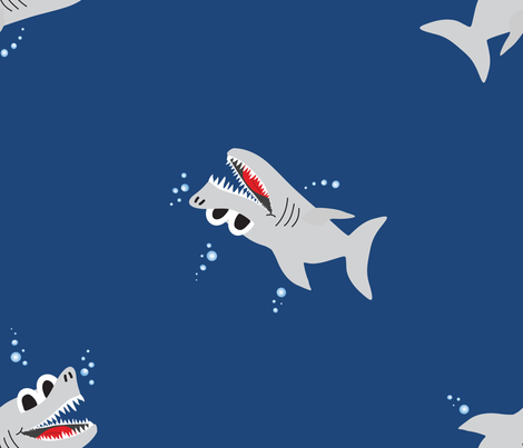 More Hello Sharks fabric by amywtsn on Spoonflower - custom fabric