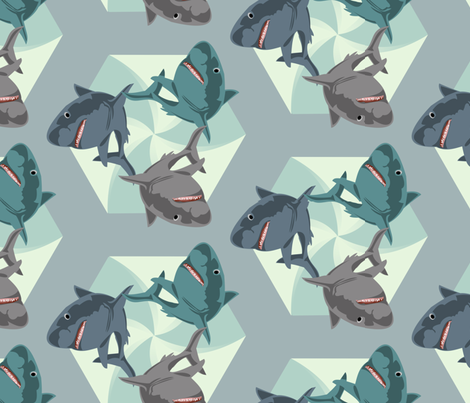 Sharks Galore fabric by meredithjean on Spoonflower - custom fabric