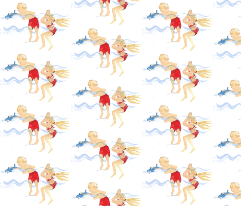 Seaside shark play fabric by gvide on Spoonflower - custom fabric