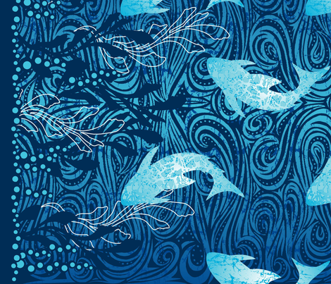 Batik Shark Panel fabric by cjldesigns on Spoonflower - custom fabric