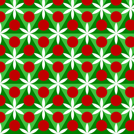 holly leaf, flower and berry 6x fabric by sef on Spoonflower - custom fabric