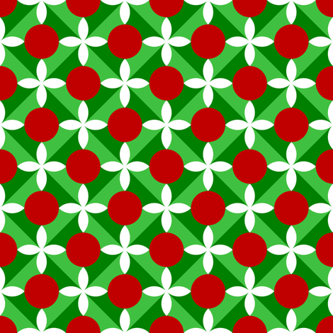holly leaf, flower and berry 4x fabric by sef on Spoonflower - custom fabric