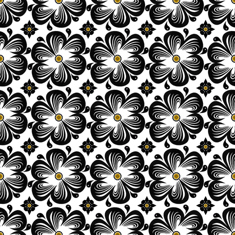 Ebony Bloom fabric by mag-o on Spoonflower - custom fabric