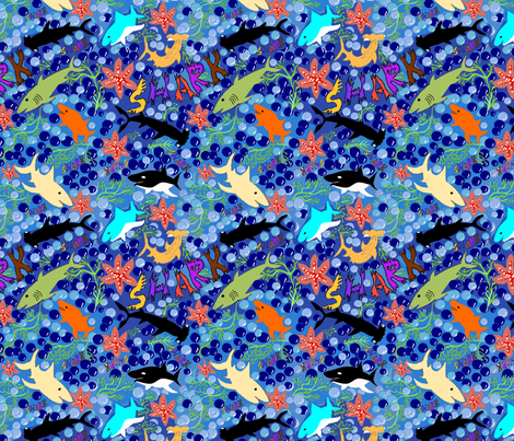 Happy Sharks fabric by createdgift on Spoonflower - custom fabric