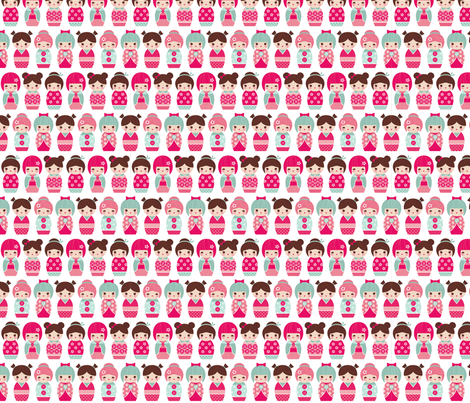 kokeshi dolls fabric by littlebeehive on Spoonflower - custom fabric