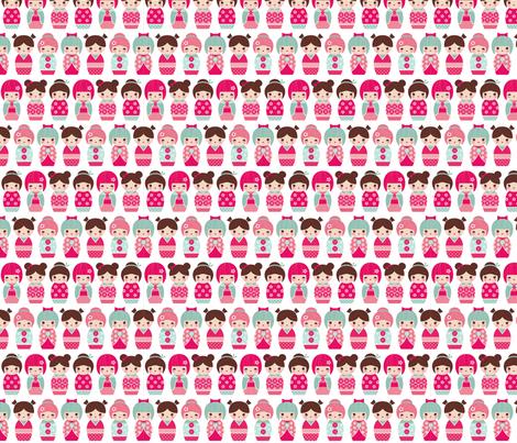 kokeshi dolls fabric by littlebeehive on Spoonflower - custom fabric