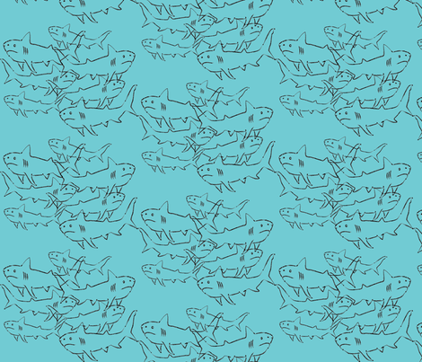 SHARKS-blue fabric by garwooddesigns on Spoonflower - custom fabric
