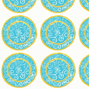dot swirl aqua and yellow-orange