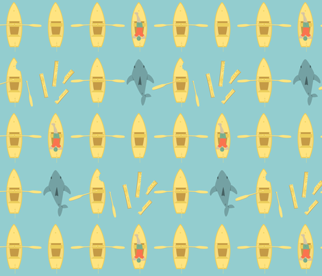 Row, Row, Row Your Boat Gently Down The...SHARK ATTACK! fabric by ttoz on Spoonflower - custom fabric