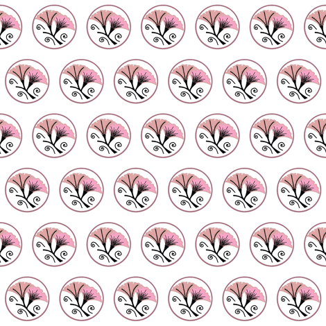 Pink and black morning glories on white fabric by su_g on Spoonflower - custom fabric