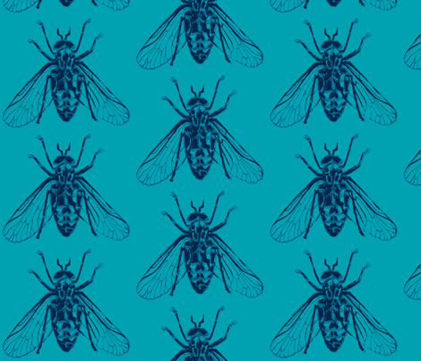 Horsefly- Blue fabric by gantpants on Spoonflower - custom fabric
