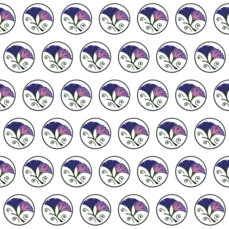 Blue and mauve morning glory on white fabric by su_g on Spoonflower - custom fabric