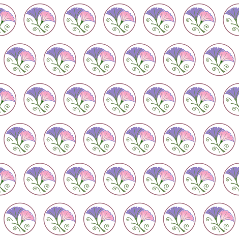 Lilac and pink morning glories on white fabric by su_g on Spoonflower - custom fabric