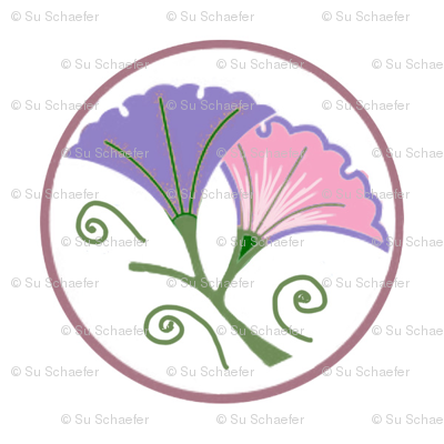 Lilac and pink morning glories on white by Su_G