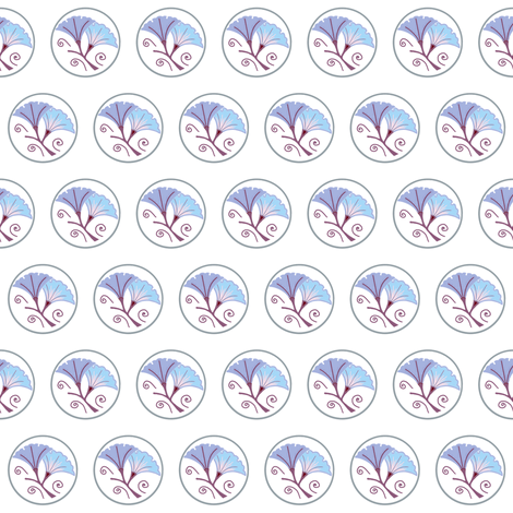 Blue morning glory on white fabric by su_g on Spoonflower - custom fabric