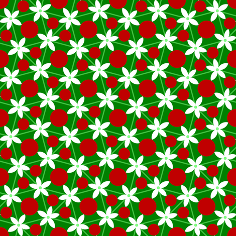 holly leaf, flower and berry 5 fabric by sef on Spoonflower - custom fabric